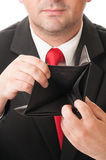Businessman showing his empty wallet Royalty Free Stock Image