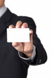 Businessman showing his name card. A Businessman showing his name card Royalty Free Stock Image