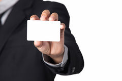 Businessman showing his name card with space for copy. A Businessman showing his name card with space for copy Stock Image