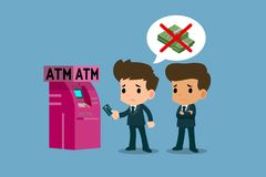 Businessman showing his platinum credit card in front of ATM machine, financial vector art concept. Businessman showing his platinum credit card in front of ATM Stock Image