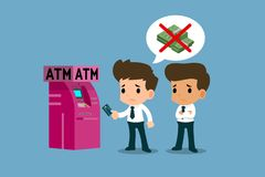 Businessman showing his platinum credit card in front of ATM machine, financial vector art concept. Businessman showing his platinum credit card in front of ATM Stock Photo