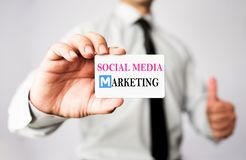 Free Businessman Showing His Social Media Marketing Card Stock Photo - 94146560
