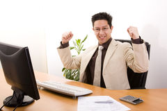 Businessman showing his success Stock Photography