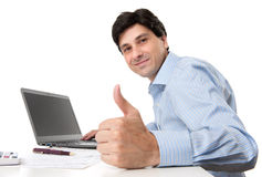 Businessman showing his thumb up Stock Photo