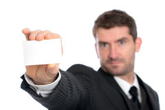 Businessman showing his visiting card Royalty Free Stock Photos