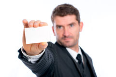 Businessman showing his visiting card Royalty Free Stock Photo
