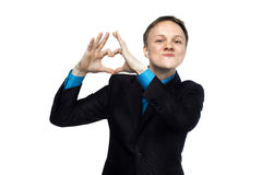 Businessman showing I love you sign Royalty Free Stock Photos