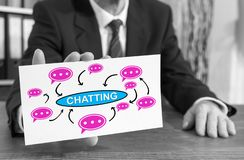 Chatting concept on an index card royalty free stock photo