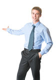 Businessman showing, isolated royalty free stock photos