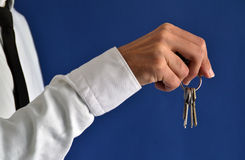 Businessman showing keys Stock Image