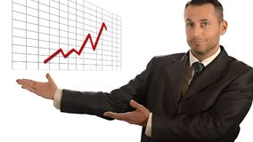 Businessman showing line graph of success stock video footage