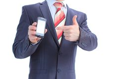 Businessman showing mobile phone. Stock Photos