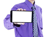 Businessman showing mobile phone Royalty Free Stock Image