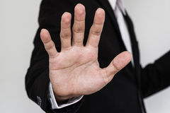 Businessman showing palm hand, Close up hand. Businessman showing palm hand, Close-up hand Royalty Free Stock Image