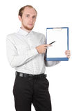 Businessman showing paper document isolated. Businessman in white shirt showing paper documant isolated Stock Images