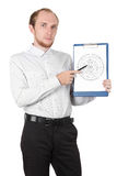 Businessman showing paper document isolated. Businessman in white shirt showing paper documant isolated Royalty Free Stock Image