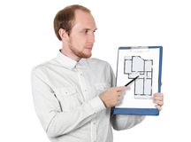 Businessman showing paper document isolated. Businessman in white shirt showing paper documant isolated Royalty Free Stock Photography