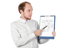 Businessman showing paper document isolated. Businessman in white shirt showing paper documant isolated Stock Photo