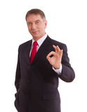 Businessman showing perfect gesture. Hand sign excellent, good, great, okay, yes. Stock Photos