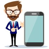 Businessman showing phone smartphone, vector Stock Photo