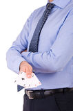 Businessman showing playing cards. Royalty Free Stock Image
