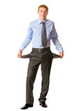 Businessman showing pockets Royalty Free Stock Images