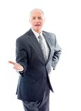 Businessman showing product with open hand palm Royalty Free Stock Photos
