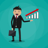 Businessman  showing raising arrow growing graph Stock Photo