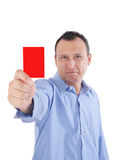 Businessman is showing a red card Stock Photo