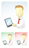 Businessman is Showing results in Tablet. Vector illustration of a businessman is showing the kinds of result, such as progressive and regressive chart through Royalty Free Stock Photos