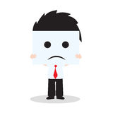 Businessman showing sadness face on white background, vector illustration in flat design Stock Photography