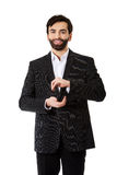 Businessman showing the size with hands. Stock Photo