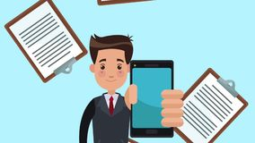 Businessman showing smartphone HD animation stock video