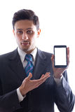 Businessman showing a smartphone 2 Stock Photo