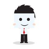 Businessman showing smile face on white background, vector illustration in flat design Stock Image