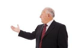 Businessman showing something Stock Images