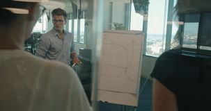 Businessman showing status of project on flipchart stock footage