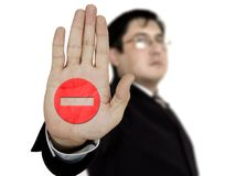 Businessman showing stop Royalty Free Stock Photos