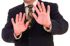Businessman showing STOP Stock Photo