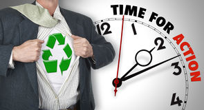 Businessman showing superhero suit with recycling symbol Royalty Free Stock Image
