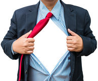 Businessman showing a superhero suit underneath his suit, isolat Stock Images