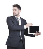 Businessman showing tablet Stock Photography