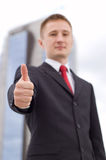 Businessman Showing Thumb Up. Close up Royalty Free Stock Photo