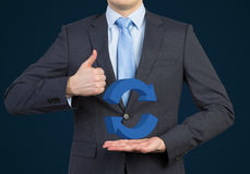 Businessman showing thumb up Royalty Free Stock Image