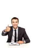Businessman showing thumbs up Royalty Free Stock Photos