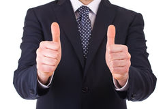 Business man showing thumbs up sign. Stock Image