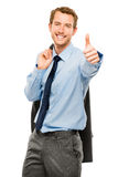 Businessman showing thumbs up sign white background Royalty Free Stock Images