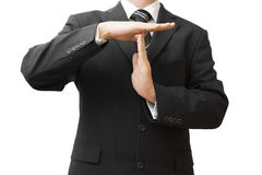 Businessman showing time out sign with hands Stock Photos