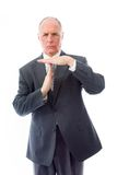 Businessman showing time out sign with hands Stock Photo