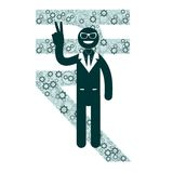 Businessman showing victory sign on a background royalty free illustration